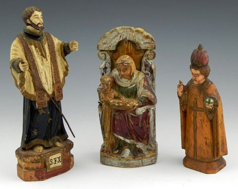14: Three Carved Polychromed Wood Religious Figures, co