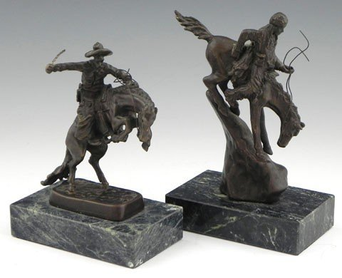 16: Two Diminutive Remington Bronzes, 20th c. after the