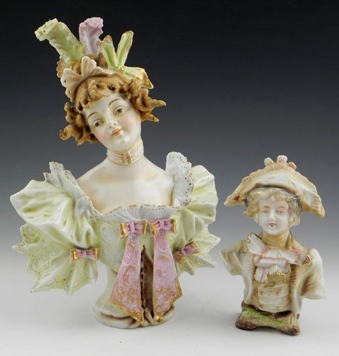 20: Two Polychromed Bisque Teplitz Style Busts, 19th c.