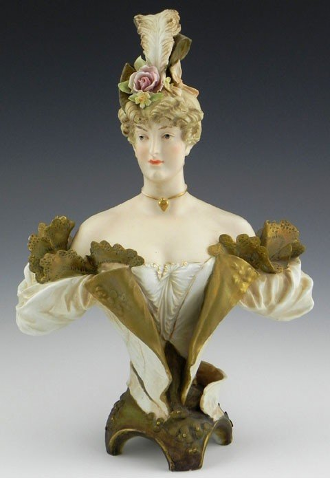 21: Turn Teplitz Art Nouveau Pottery Bust, c. 1920, of