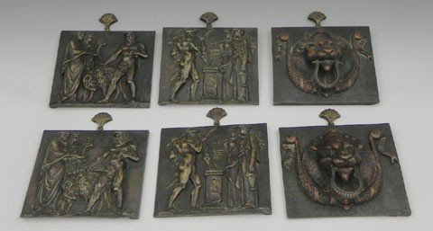 24: Group of Six Patinated Bronze Relief Plaques, 19th