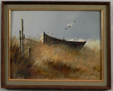 """157: Will Haddon, """"Boat on the Beach,"""" 20th c., oil on"""