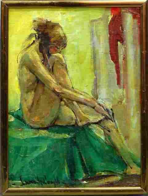 "176: American School, ""Seated Nude,"" 20th c., oil on ca"
