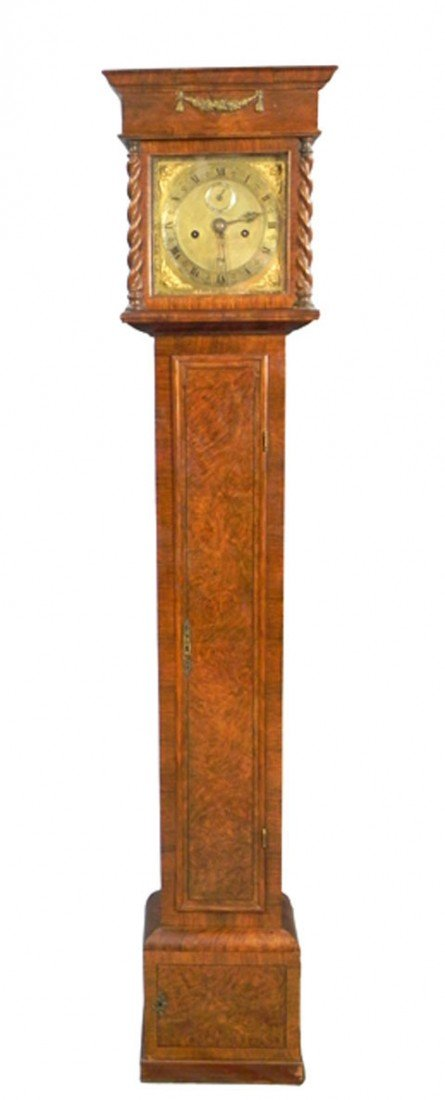 534: Rare Diminutive Burled Walnut Tallcase Clock, 17th