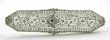 609 Ladys 14K White Gold Filigree Bar Pin mid 20th c
