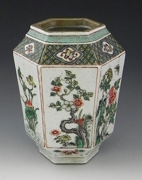 1: Oriental Hexagonal Jar, early 20th c., with a Greek