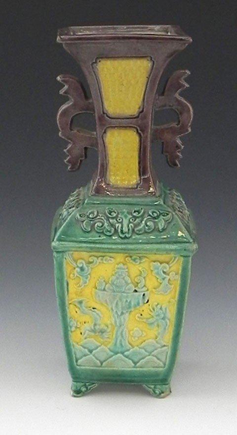2: Chinese Square Glazed Earthenware Baluster Vase,  la