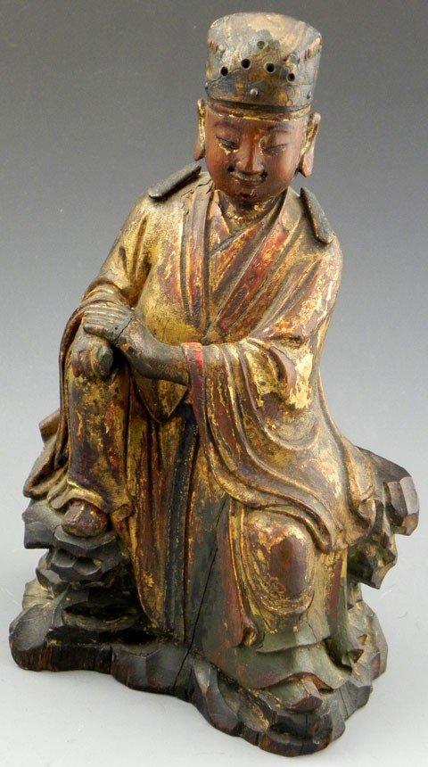 3: Chinese Carved Polychromed Gilt Wood Prayer Figure,