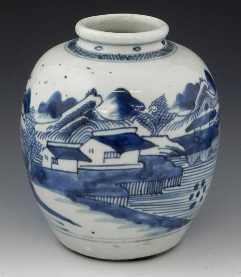 4: Japanese Arita Baluster Jar, 19th c., with blue and