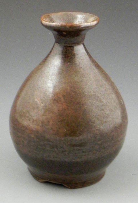 5: Chinese Brown Glaze Earthenware Bottle Form Vase, 19