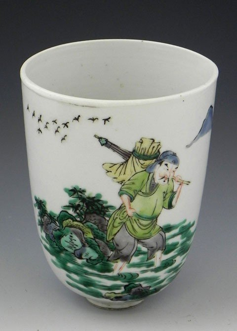 6: Chinese Famille Verte Wine Cup, 18th c., decorated w
