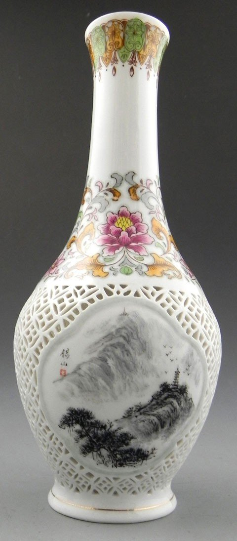 7: Unusual Chinese Porcelain Baluster Vase, 20th c., th