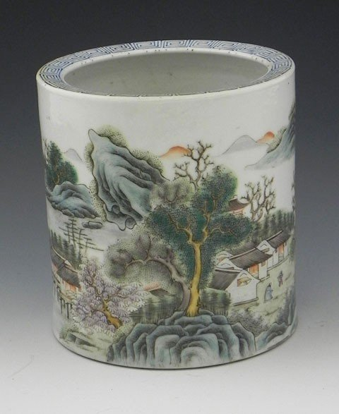 8: Finely Enameled Chinese Brush Pot, Chien-Lung period