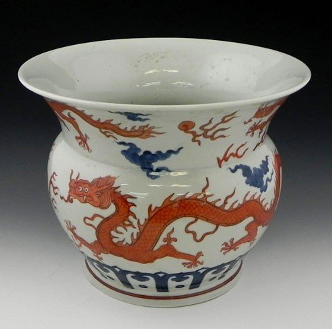 12: Chinese Porcelain Baluster Jardinière, 19th c., wit