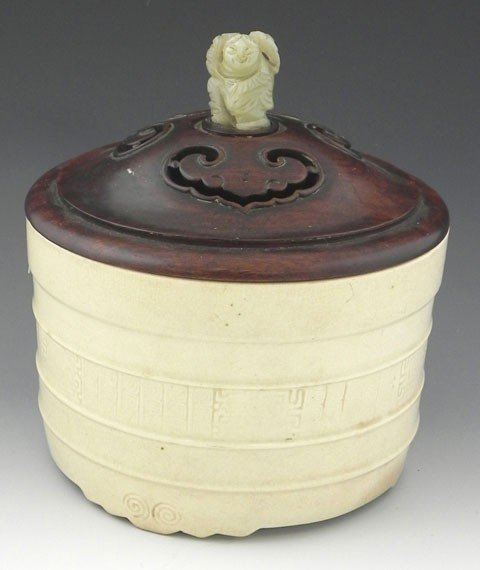 13: Chinese Glazed Earthenware Barrel, 19th c.,with rib