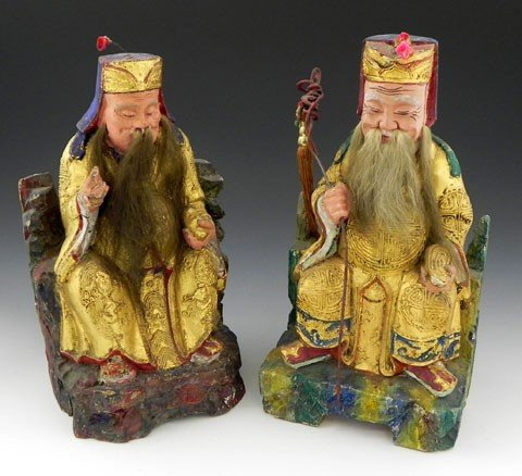14: Pair of Chinese Carved Wooden Figures, early 20th c