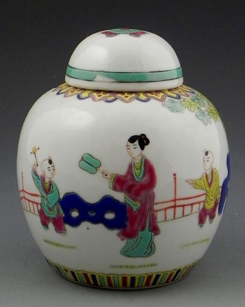 20: Chinese Baluster Form Covered Ginger Jar, 19th c.,