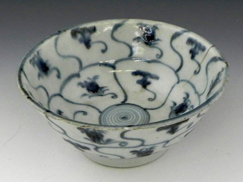 22: Chinese Blue and White Porcelain Rice Bowl, Ming Dy
