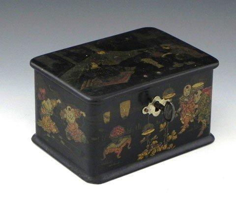 24: Oriental Black Lacquer Papier Mache Dresser Box, la