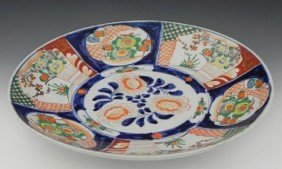 Large Imari Charger, 19th C, With Floral Panel Deco