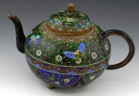 Japanese Cloisonn� Teapot, 19th C., With Intricate