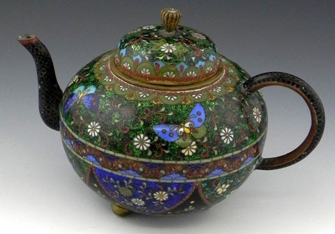 76: Japanese Cloisonné Teapot, 19th c., with intricate