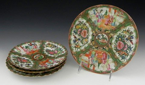 77: Group of Four Chinese Rose Medallion Plates, 19th c