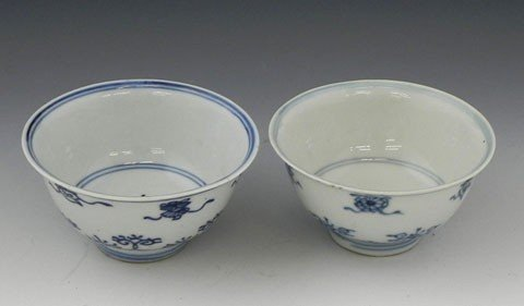 78: Pair of Chinese Porcelain Wine Cups, 19th c., with