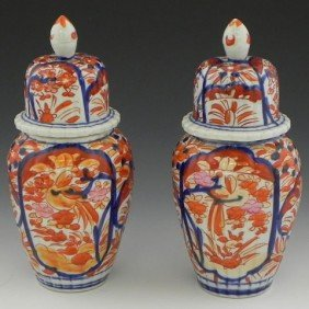 Pair Of Diminutive Imari Baluster Covered Jars, Lat