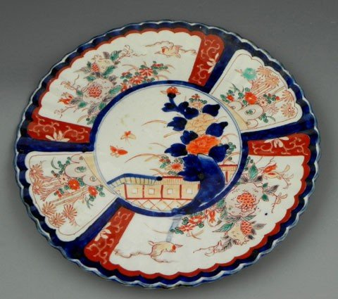 82: Imari Scalloped Charger, 19th c., with panel decora