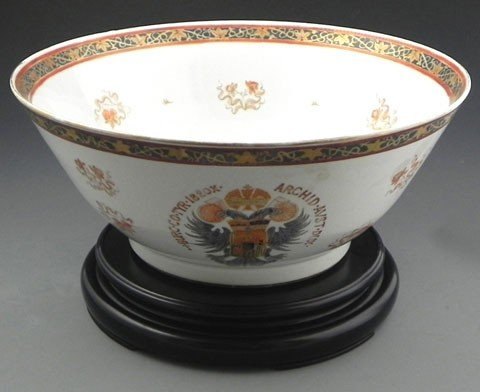 84: Large Chinese Export Famille Rose Punch Bowl, late
