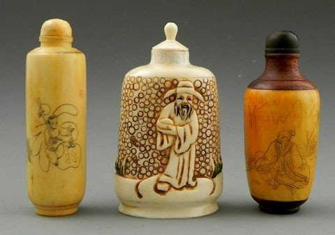 87: Three Carved Bone Snuff Bottles, 20th c., two with