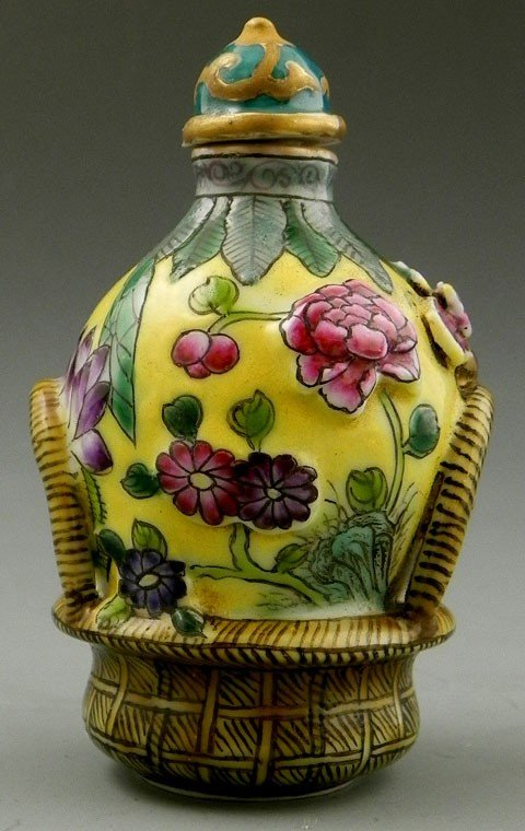88: Unusual Polychromed Porcelain Snuff Bottle, 20th c.