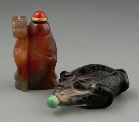90: Two Snuff Bottles, 20th c., one of Peking glass in