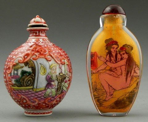 92: Two Snuff Bottles, 20th c.,one with interior decora