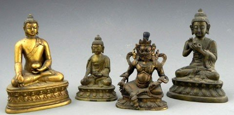 93: Group of Four Bronze Figures, 19th c., three of Bud