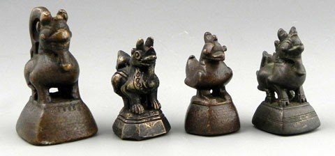 95: Group of Four Bronze Opium Weights, early 20th c, t