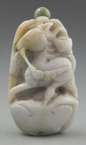 Carved Jade Snuff Bottle, 20th C., With A Relief C