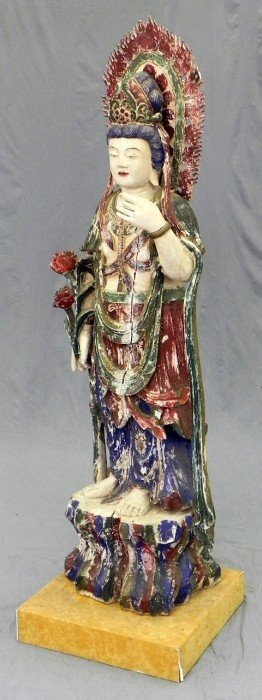 Large Oriental Carved And Polychromed Wood Deity F