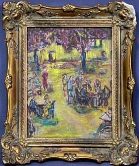 "Roman, ""Scene In A French Park,"" 20th C., Pastel A"