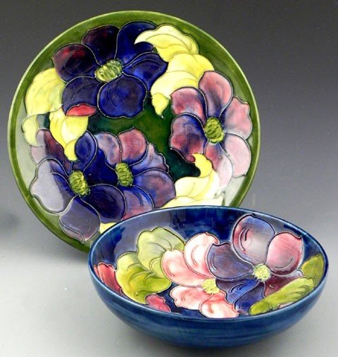 125: Moorcroft Pottery Clematis Bowl and Plate, 20th c.