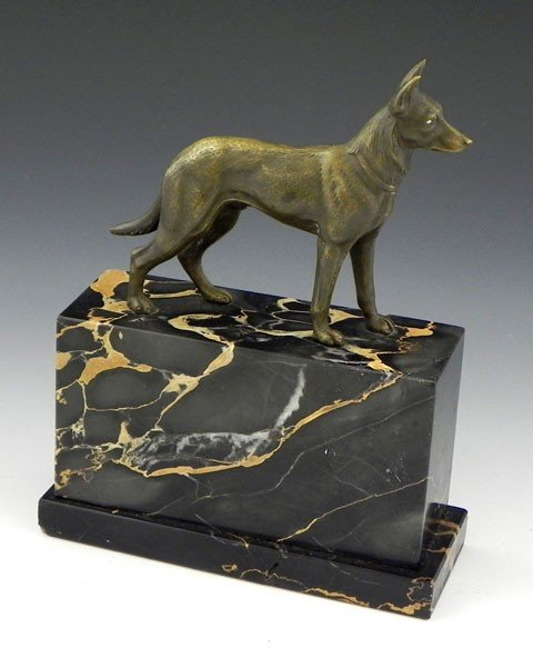 127: Bronze German Shepherd Figure, c. 1930, on a highl