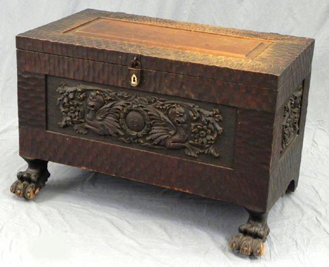 129: Unusual Carved Mahogany Bedding Box, 19th c., with
