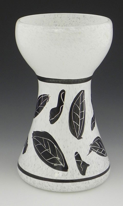 131: Unusual White Waisted Art Glass Vase, 20th c., in