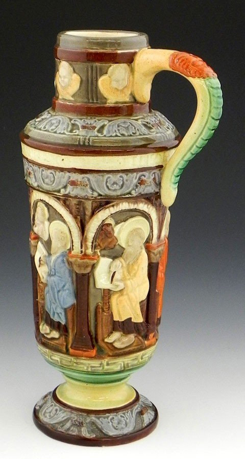 134: Continental Glazed Majolica Footed Jug, 19th c., o