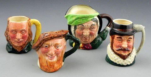 136: Group of Four Miniature Toby Jugs, 20th c., three