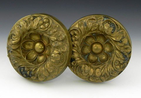 138: Pair of Large American Brass Curtain Tiebacks, 19t