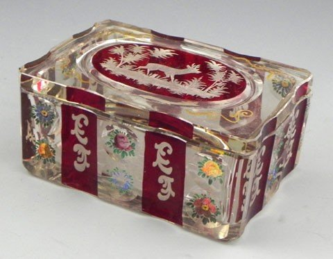 139: Bohemian Glass Lidded Dresser Box, late 19th c., t