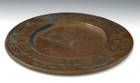 Arts And Crafts Hammered Copper Plate, C. 1910, Wi