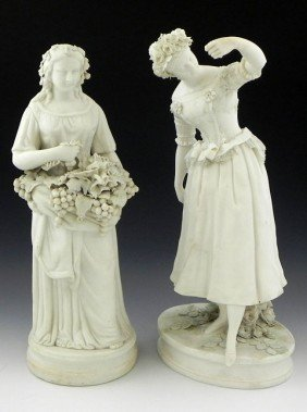 Two Parian Figures, 19th C., One Of A Female Grape